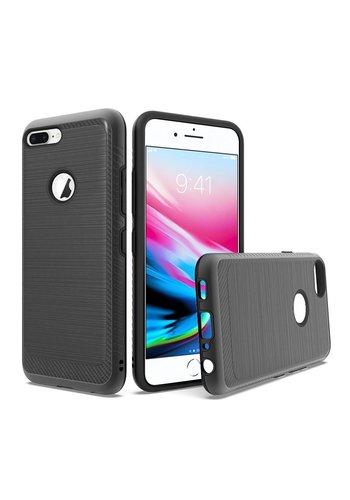 Metallic PC TPU Brushed Case with Carbon Fiber Edge for iPhone 8 Plus / 7 Plus