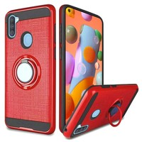 PC TPU Embossed Line Design Case with Magnetic Ring for Galaxy A11