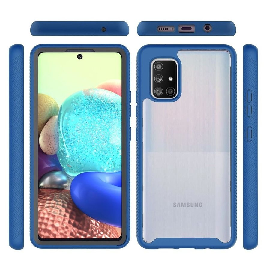 Hybrid Transparent Rubberized Shockproof Bumper Case for Galaxy A71