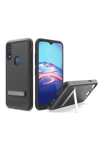 Metallic PC TPU Brushed Case Carbon Fiber Edge with Kickstand for Motorola Moto E (2020)