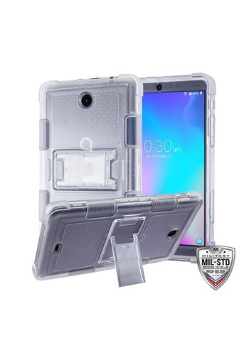 MYBAT Transparent Clear TUFF Hybrid Protector Cover with Stand [Military-Grade Certified] for Alcatel Joy Tablet