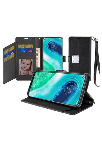 Hybrid PU Leather Metallic Flip Cover Wallet Case with Credit Card Slots for Motorola Moto G Fast