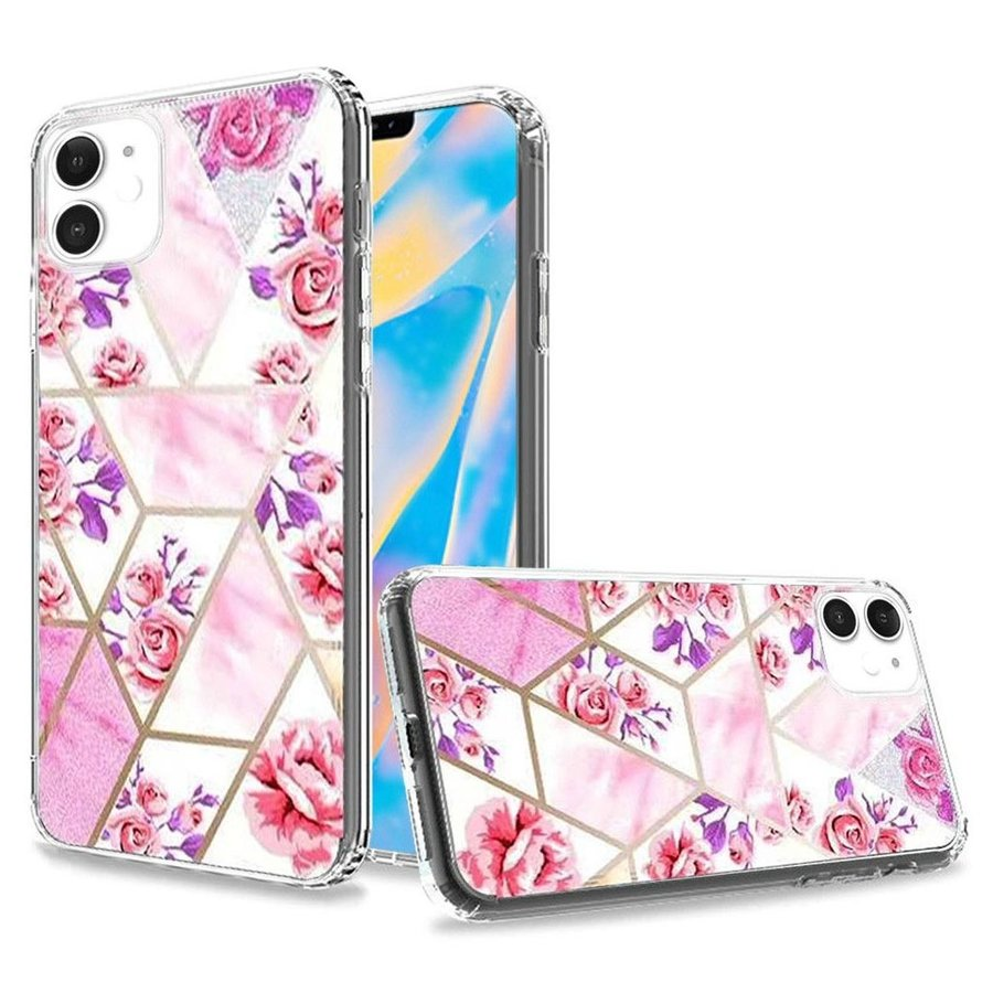 TPU Gel Trendy Electroplated Astonishing Floral Design Case for iPhone 12 Mini