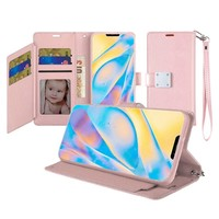Hybrid PU Leather Metallic Flip Cover Wallet Case with Credit Card Slots for iPhone 12 / 12 Pro
