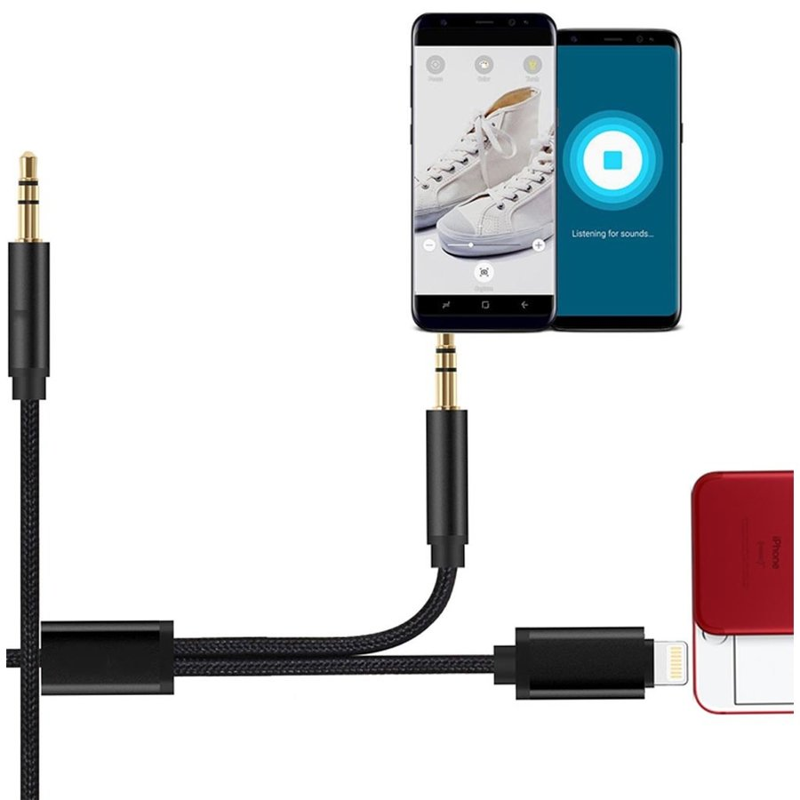APFEL   Dual Lightning and Aux Entry to 3.5mm Audio Cable Output (1M)