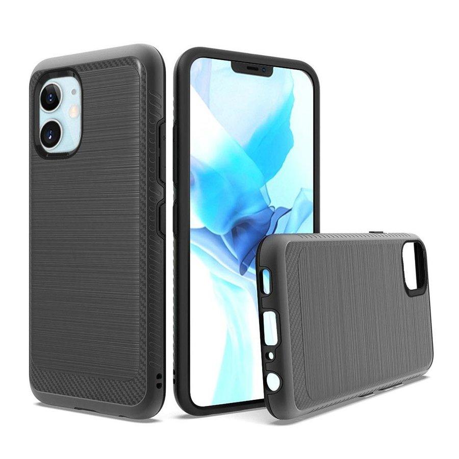 Metallic PC TPU Brushed Case with Carbon Fiber Edge for iPhone 12 Mini