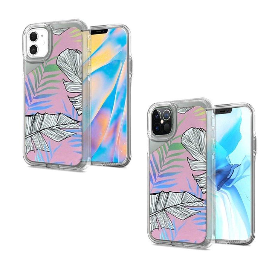 TPU Gel Electroplated Leaf Design Case for iPhone 12 / 12 Pro