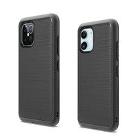 Metallic PC TPU Brushed Case with Carbon Fiber Edge for iPhone 12 / 12 Pro