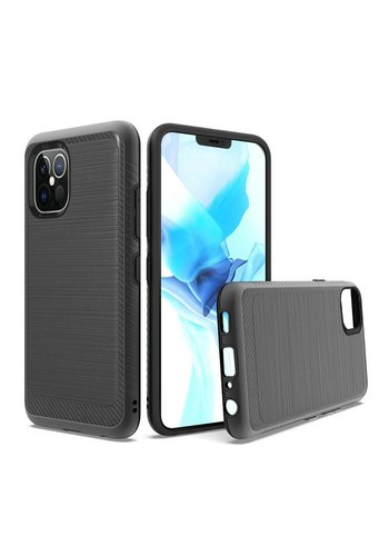 Metallic PC TPU Brushed Case with Carbon Fiber Edge for iPhone 12 Pro Max
