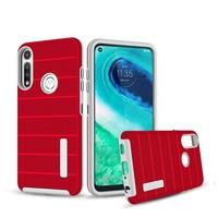 PC TPU Shock Proof Hybrid case with Stripes Design for Motorola Moto G Fast