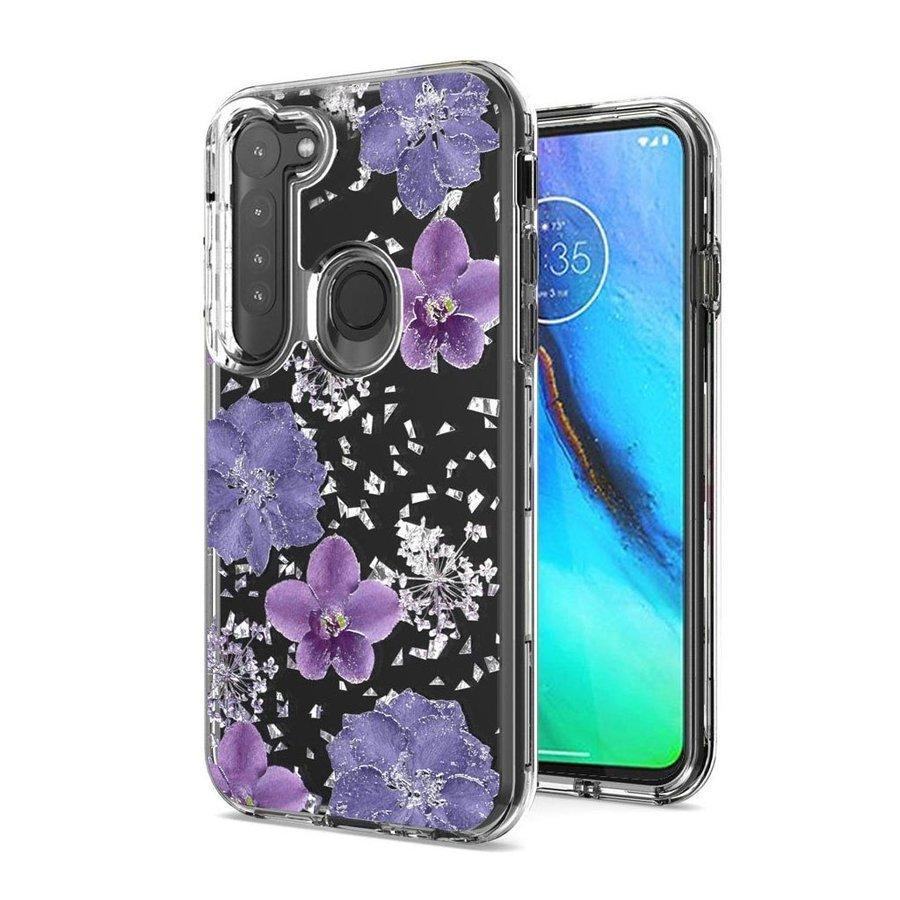 Transparent Flowers Print Design Case for Motorola G Stylus