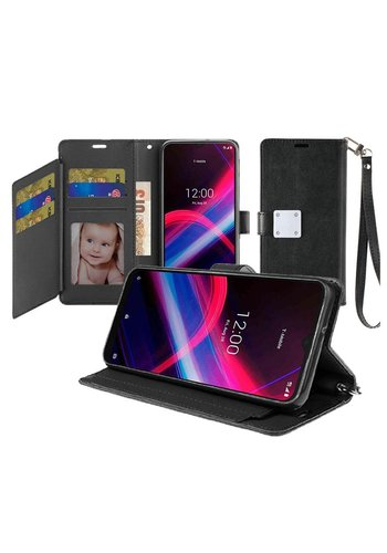 Hybrid PU Leather Metallic Flip Cover Wallet Case with Credit Card Slots for TCL Revvl 4 Plus
