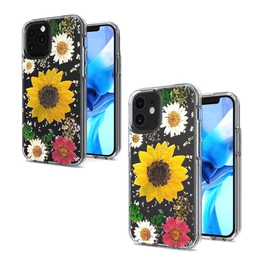 Transparent Sun Flower Print Design Case for iPhone 12 / 12 Pro