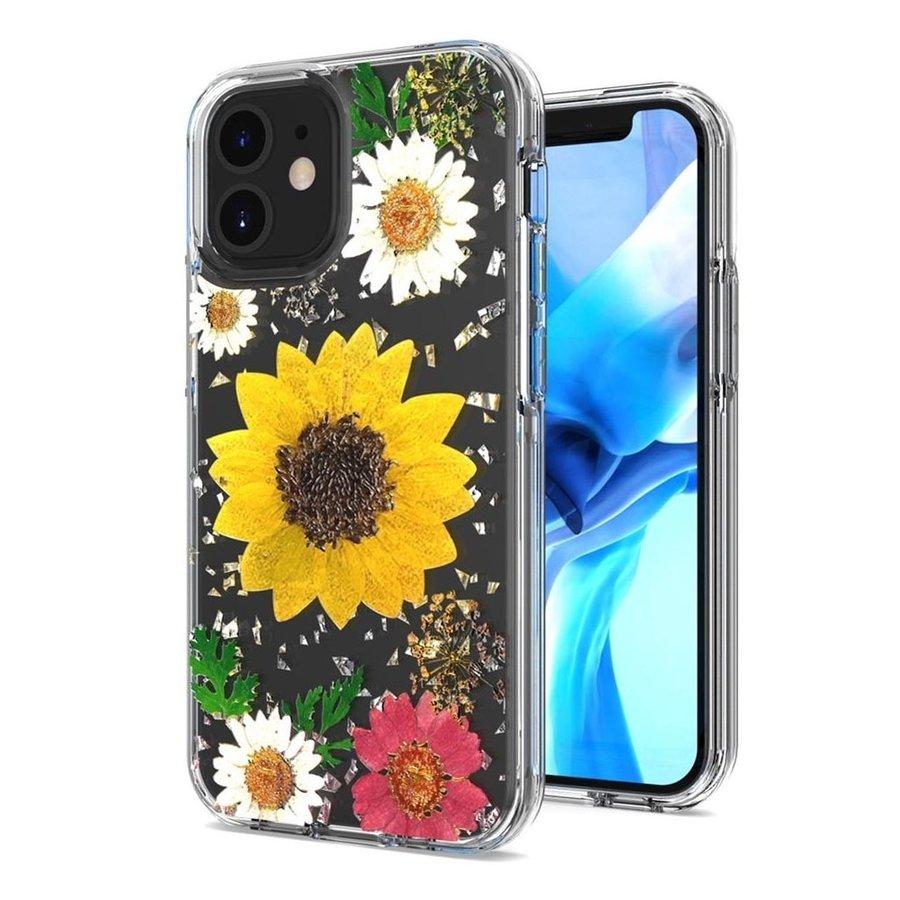 Transparent Sun Flower Print Design Case for iPhone 12 Mini