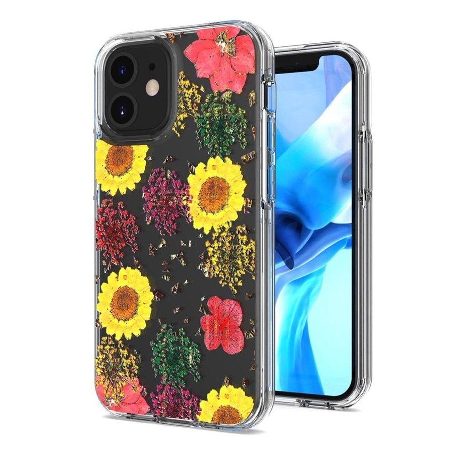 Transparent Botanic Flowers Design Case for iPhone 12 Mini