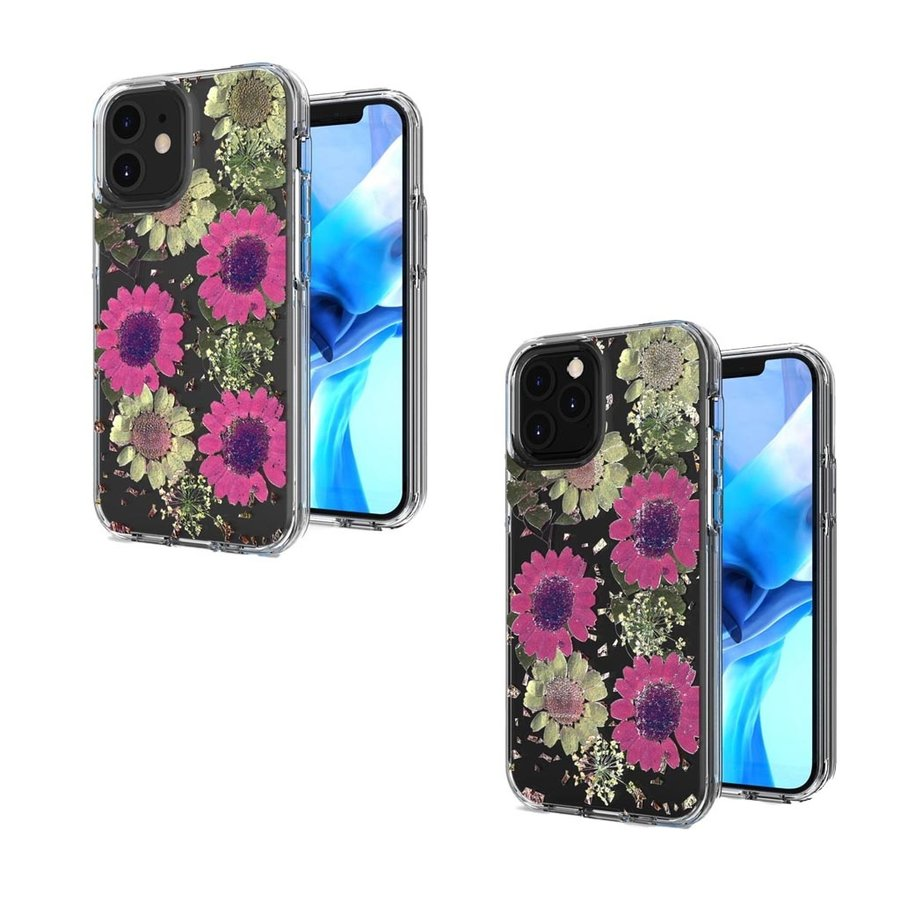 Transparent Pink Daisy Design Case for iPhone 12 / 12 Pro