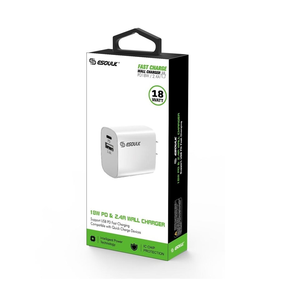 ESOULK | Dual Port USB C & USB Home Charger Adapter