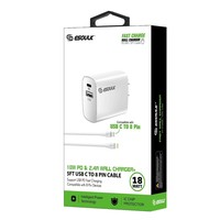 ESOULK   Dual Port USB C & USB Home Charger with 3ft Type C to Lightning Cable
