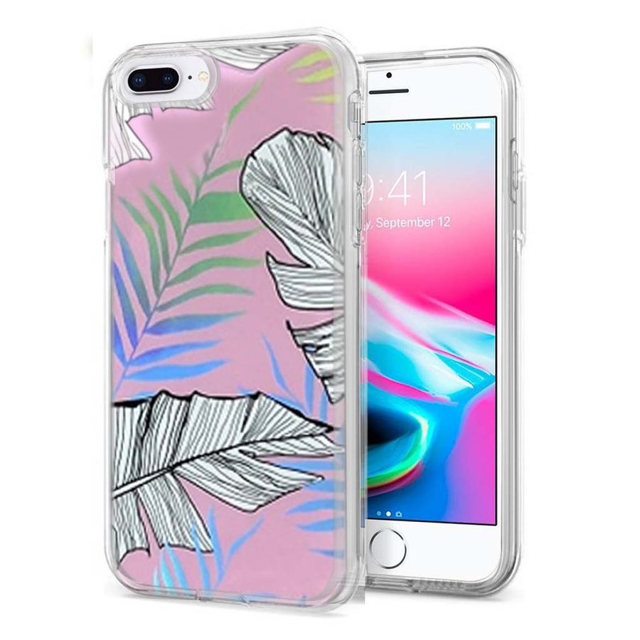 TPU Gel Electroplated Leaf Design Case for iPhone 8 Plus / 7 Plus
