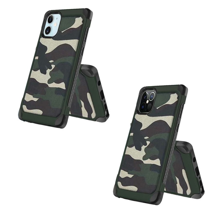 PC TPU Hard Bumper Case with Camouflage Design for iPhone 12 / 12 Pro