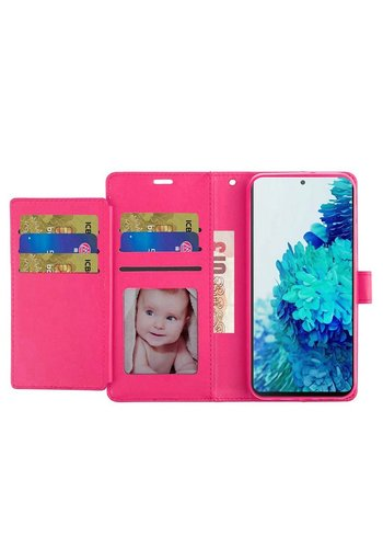 Hybrid PU Leather Metallic Flip Cover Wallet Case with Credit Card Slots for Galaxy S21