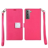 Hybrid PU Leather Metallic Flip Cover Wallet Case with Credit Card Slots for Galaxy S21 Plus