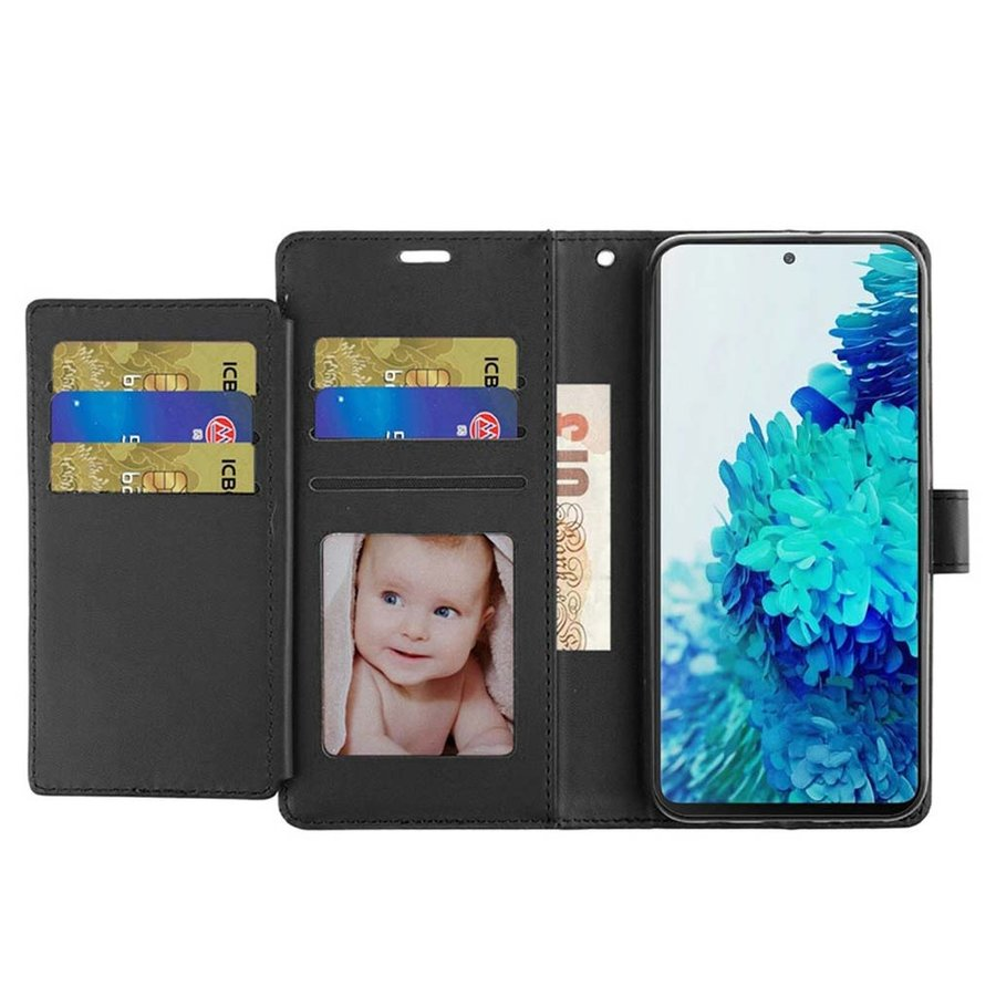 Hybrid PU Leather Metallic Flip Cover Wallet Case with Credit Card Slots for Galaxy S21 Ultra