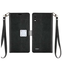 Hybrid PU Leather Metallic Flip Cover Wallet Case with Credit Card Slots for LG K22