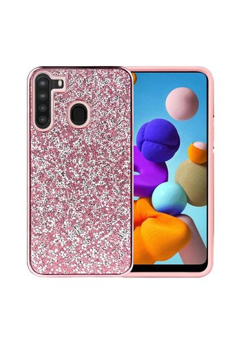 Hybrid PC TPU Deluxe Glitter Diamond Electroplated Case for Galaxy A21