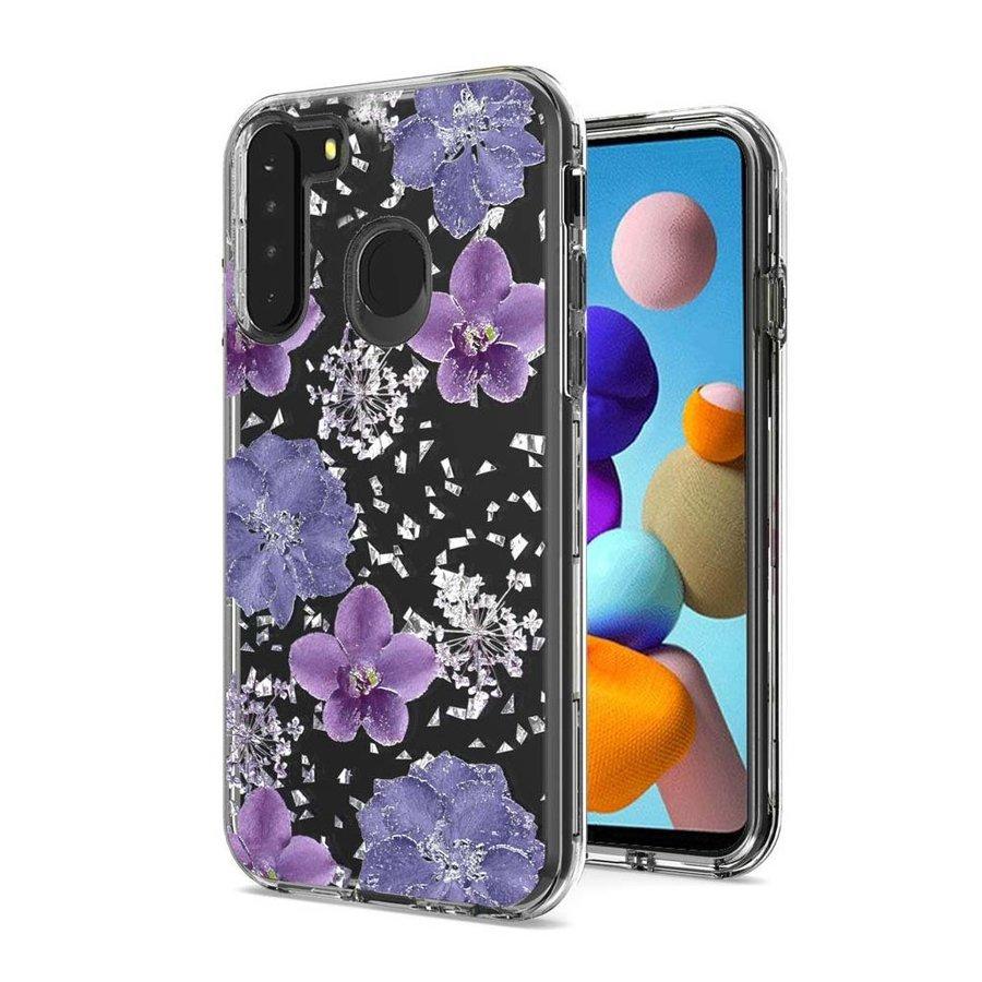 Transparent Flowers Print Design Case for Galaxy A21