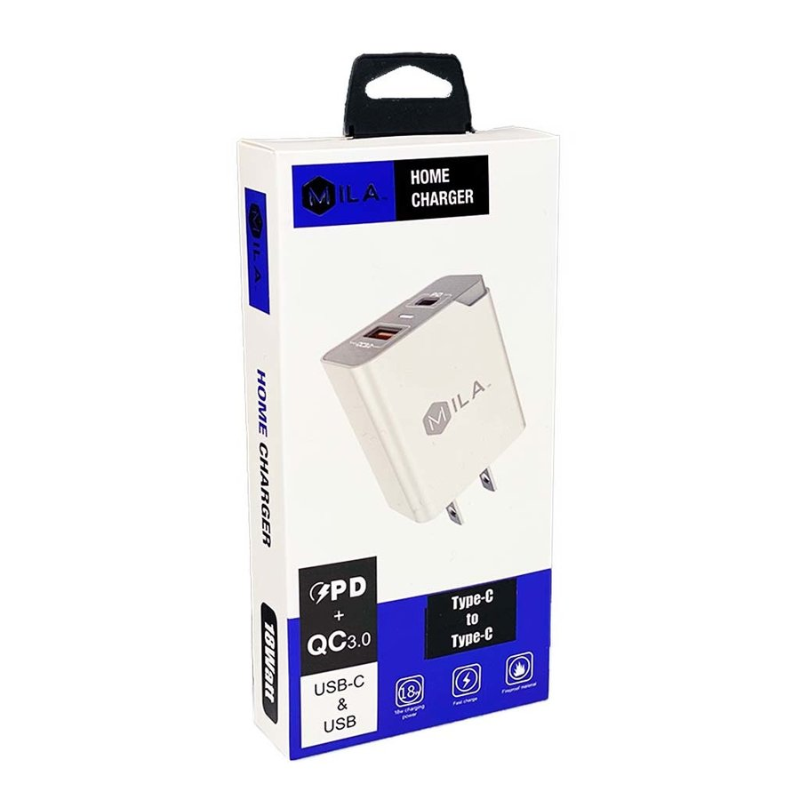 MILA | 3.0A Fast Charge USB and USB-C Port Home Wall Charger with Type C to Type C Cable