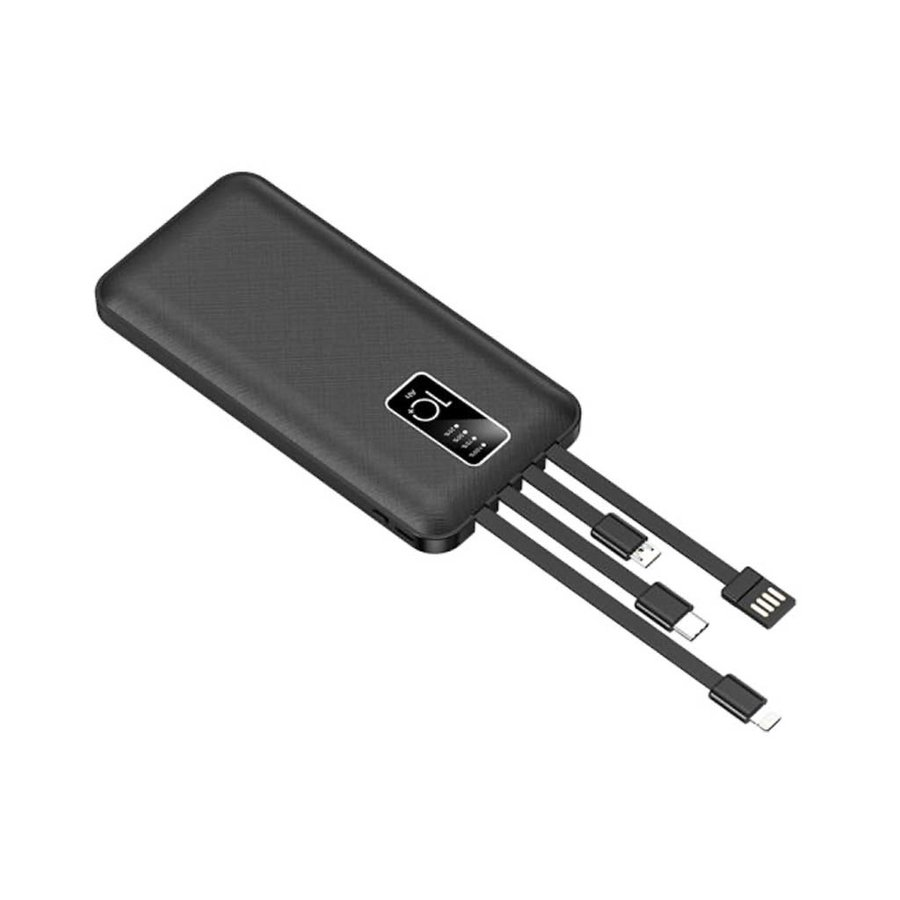 JLW WUW | Portable 10,000 mAh Power Bank with Built-In Mirco + Type C + Lightning + USB Output Cables (U39)