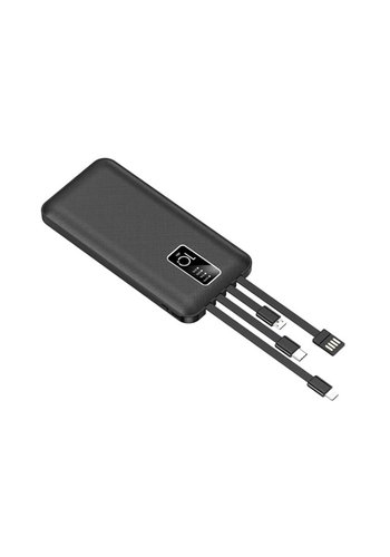 JLW WUW | Portable 20,000 mAh Power Bank with Built-In Mirco + Type C + Lightning + USB Output Cables (U40)