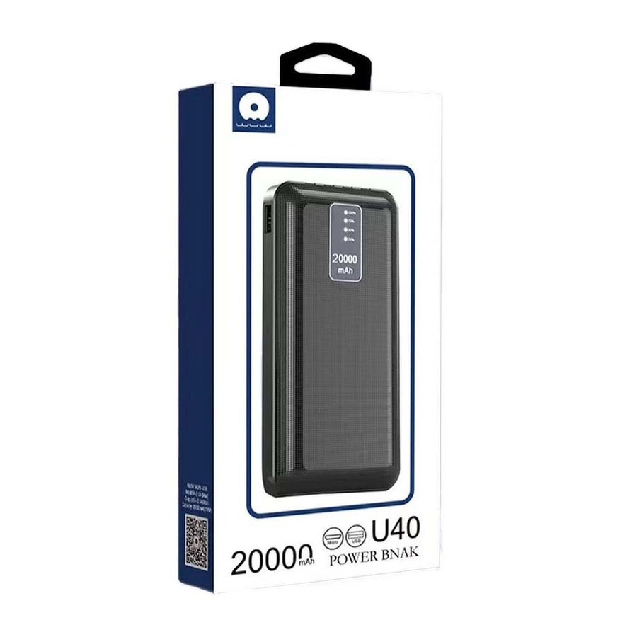 JLW WUW   Portable 20,000 mAh Power Bank with Built-In Mirco + Type C + Lightning + USB Output Cables (U40)