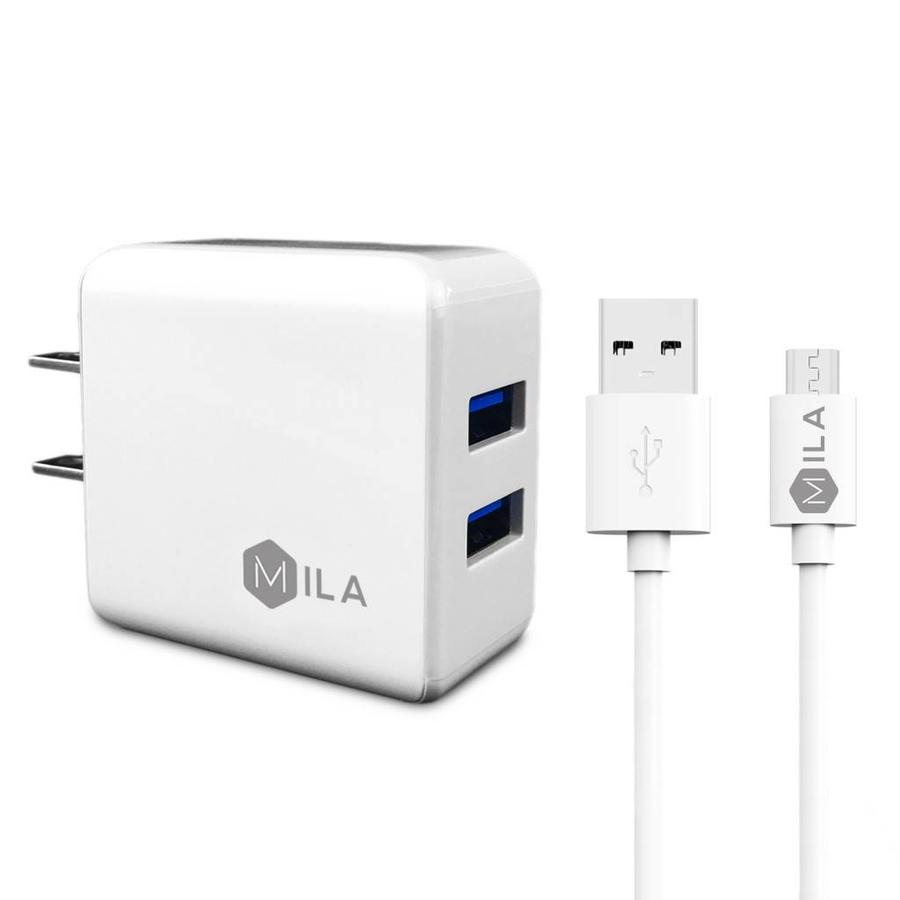 MILA | 2.4A Dual-USB Home Wall Charger with Micro USB Cable V9