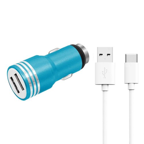 High Quality Bullet Dual-USB Car Charger with USB Type C Cable