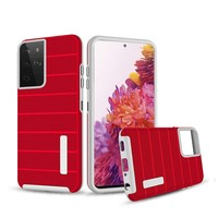 PC TPU Shock Proof Hybrid Case with Stripes Design for Galaxy S21 Plus