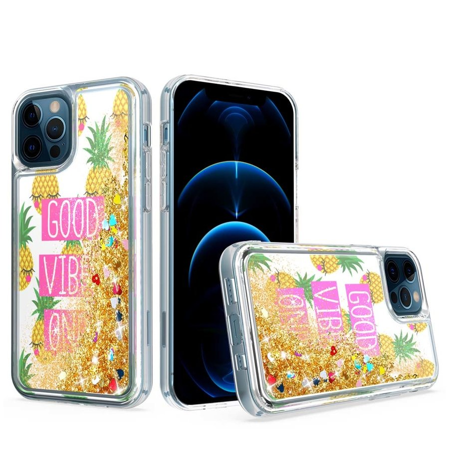 KASEAULT | Liquid Quicksand Glitter Good Vibes Only Design Case for iPhone 12 Pro Max