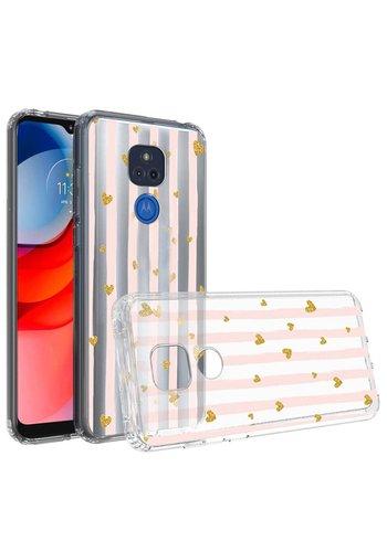 KASEAULT   Transparent ShockProof Hearts and Stripes Design Case for Motorola Moto G Play (2021)
