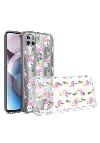 KASEAULT | Transparent Bumper Flamingo Pineapple Leaf Design Case for Motorola Moto One 5G Ace