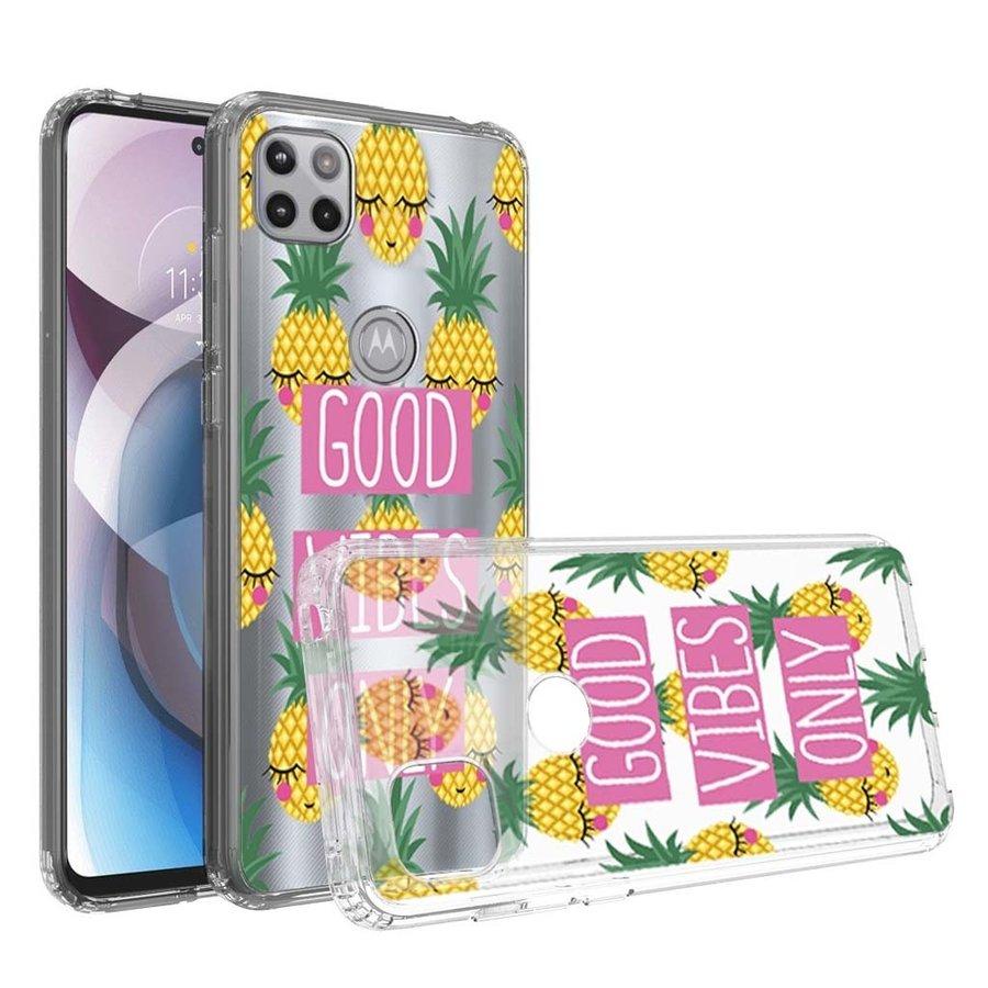KASEAULT | Transparent ShockProof Good Vibes Only Design Case for Motorola Moto One 5G Ace