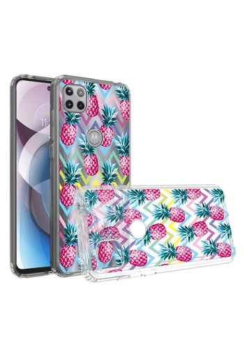 KASEAULT | Transparent Bumper Pineapple ZigZag Design Case for Motorola Moto One 5G Ace
