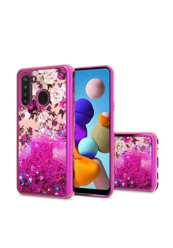 TPU Liquid Quicksand Glitter White Pink Flowers Design Case for Galaxy A21
