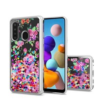 TPU Liquid Quicksand Glitter Purple Pink Flowers Design Case for Galaxy A21
