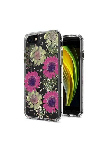 Transparent Pink Daisy Design Case for iPhone SE (2020) / 8 / 7