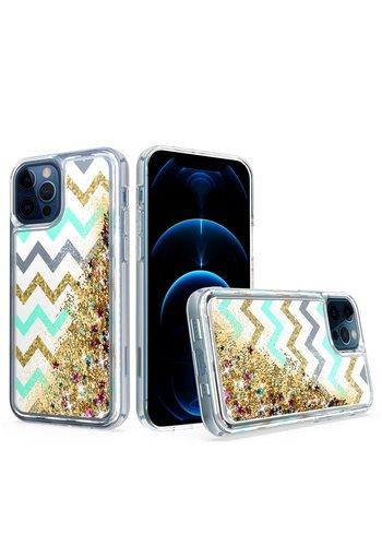KASEAULT | Liquid Quicksand Glitter ZigZag Design Case for iPhone SE (2020) / 8 / 7