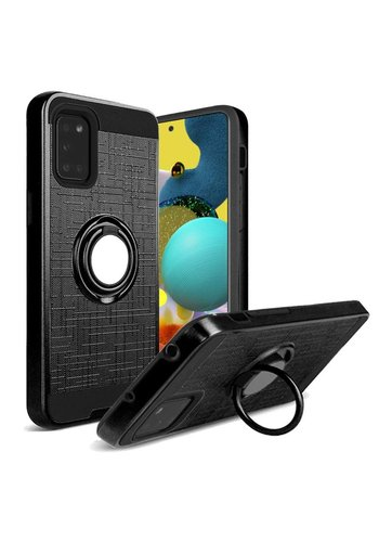 PC TPU Embossed Line Design Case with Magnetic Ring for Galaxy A51 5G
