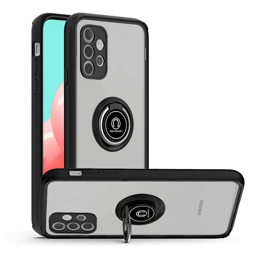 Transparent Hybrid MagRing Case with Camera Cover for Galaxy A32 5G