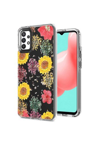 Transparent Botanic Flowers Design Case for Galaxy A32 5G