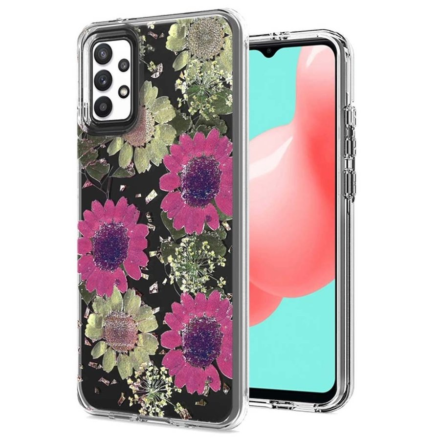 Transparent Pink Daisy Design Case for Galaxy A32 5G